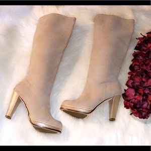 COLE HAAN Nola Cream/Pearl Suede Slouch Tall Boots